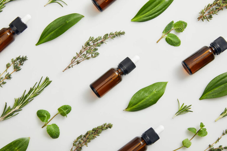 Flat lay with bottles on essential oil and green herbs on grey background